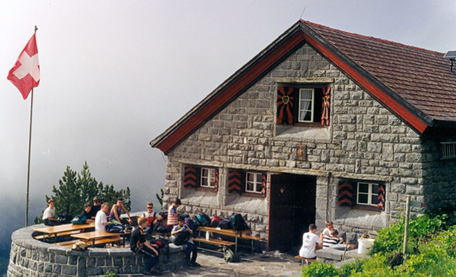 Doldenhorn hut above Kandersteg in the Bernese Oberlands region of the Swiss Alps