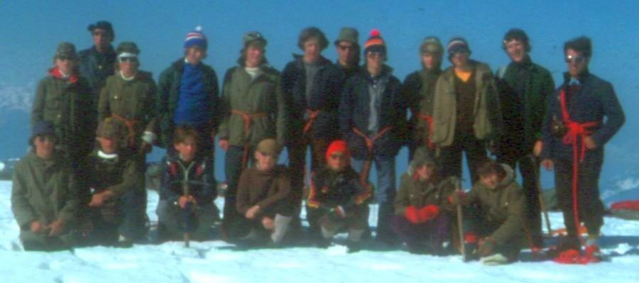 24th Glasgow ( Bearsden ) Scout Group on summit of the Wildstrubel in the Bernese Oberlands Region of the Swiss Alps