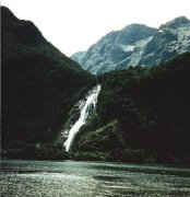 Waterfall at Milford Sound in the South Island of New Zealand